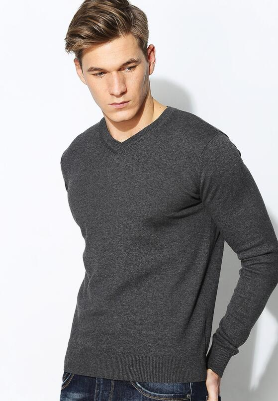 Ciemnoszary Sweter Klasik V Neck