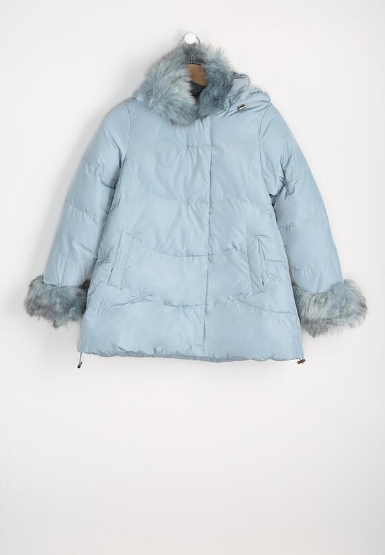 Jasnoniebieska Kurtka Fur Sleeves