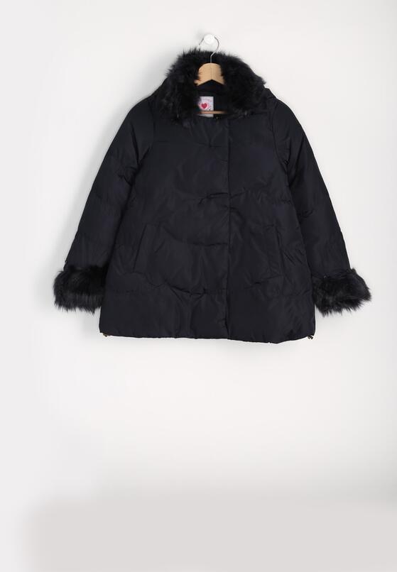 Granatowa Kurtka Fur Sleeves