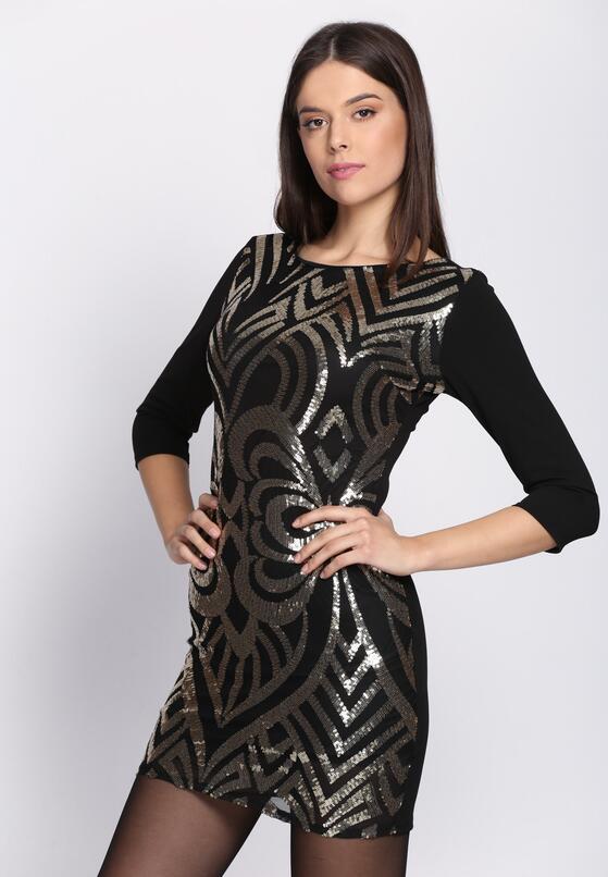 Czarno-Złota Sukienka Art Deco