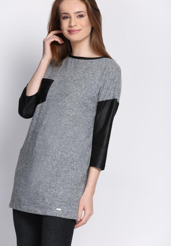 Szara Bluza Leather Sleeves