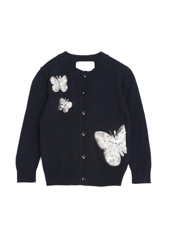 Granatowy Sweterek Field Of Butterflies
