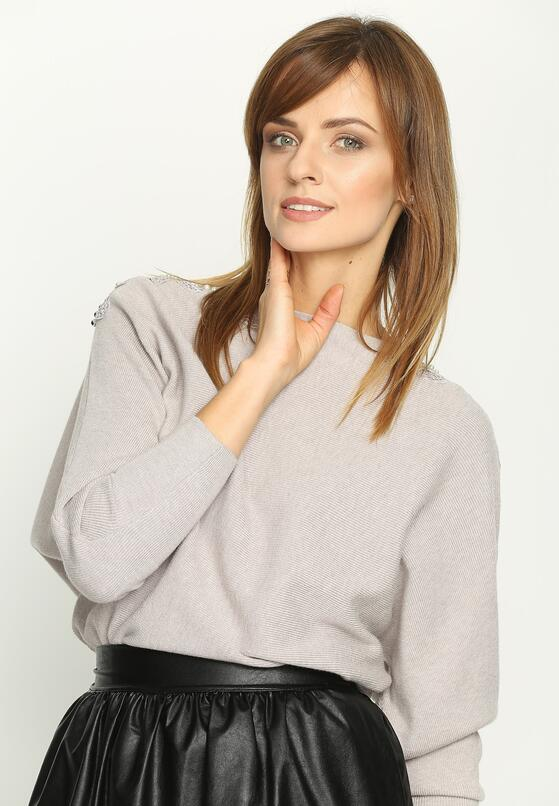 Ciemnobeżowy  Sweter Lace Motive