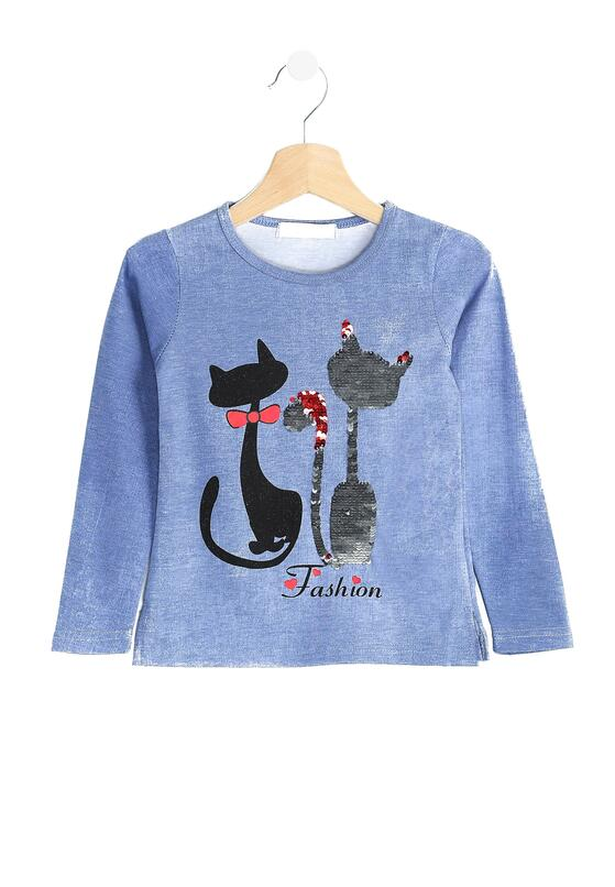 Niebieska Bluzka Love Cats