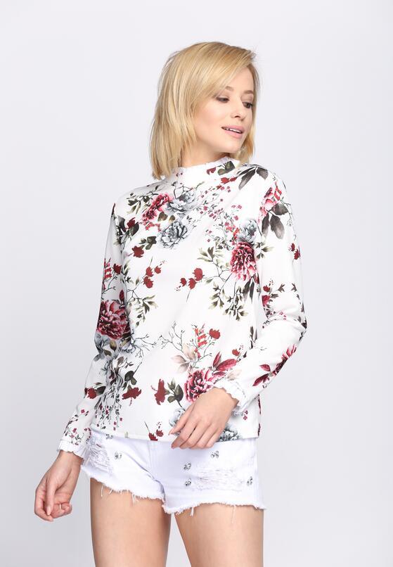 Biało-Czerwona Bluzka Flowery