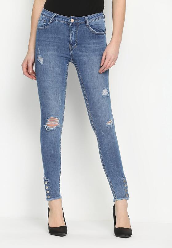 Niebieskie Jeansy Button Up