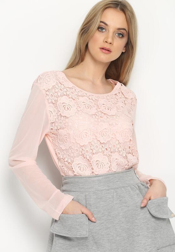 Różowa Bluzka Netting Arm