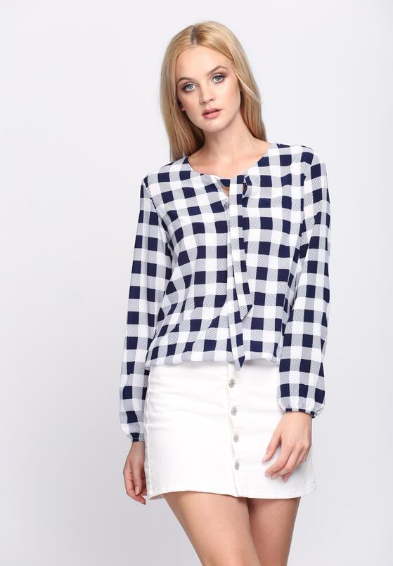 Granatowa Bluzka Checkered