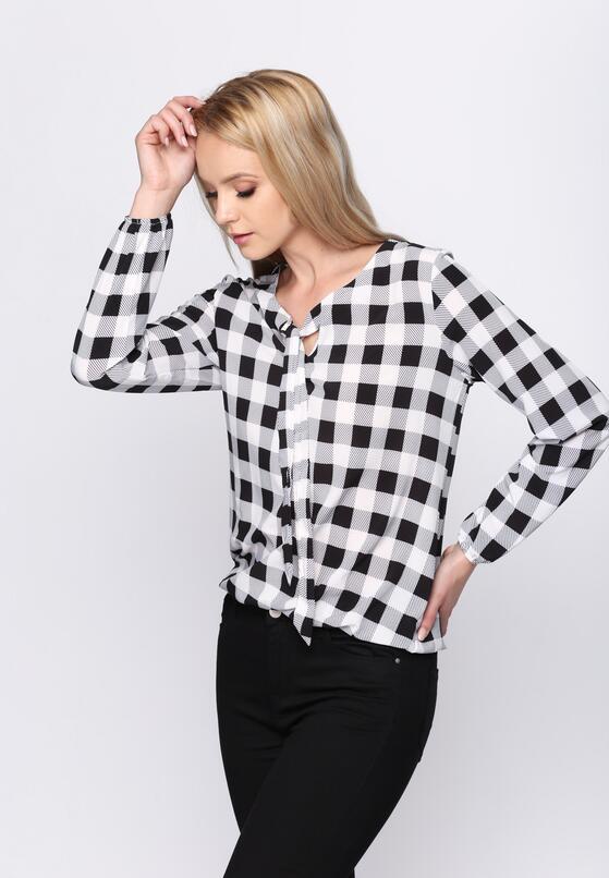 Czarna Bluzka Checkered