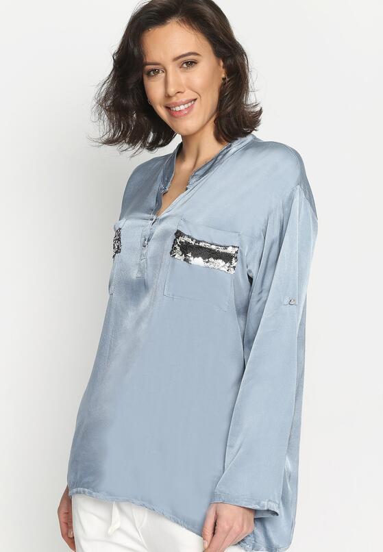 Niebieska Bluzka Damask Silk