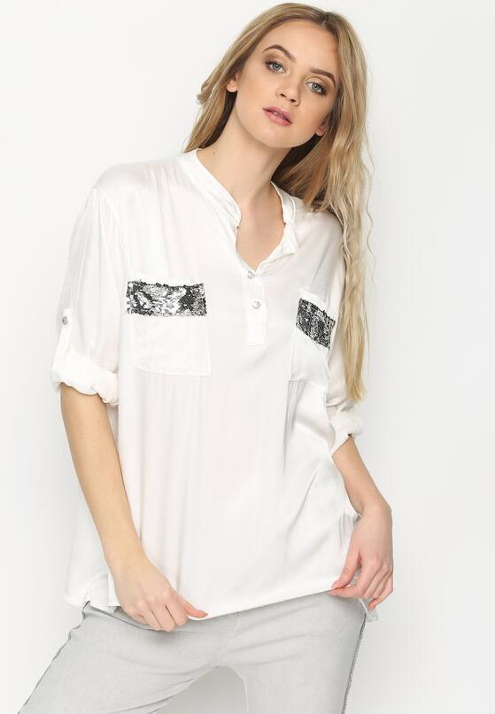 Biała Bluzka Damask Silk