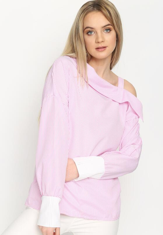 Różowa Bluzka Open Shoulder