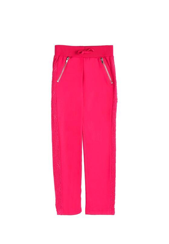 Fuksjowe Spodnie Dresowe Lacy Belt