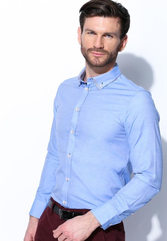 Niebieska Koszula Double Collar