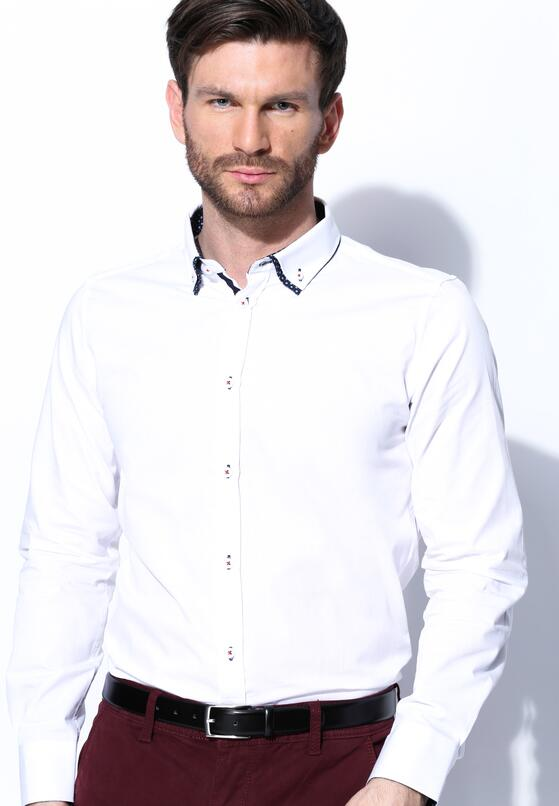 Biała Koszula Double Collar