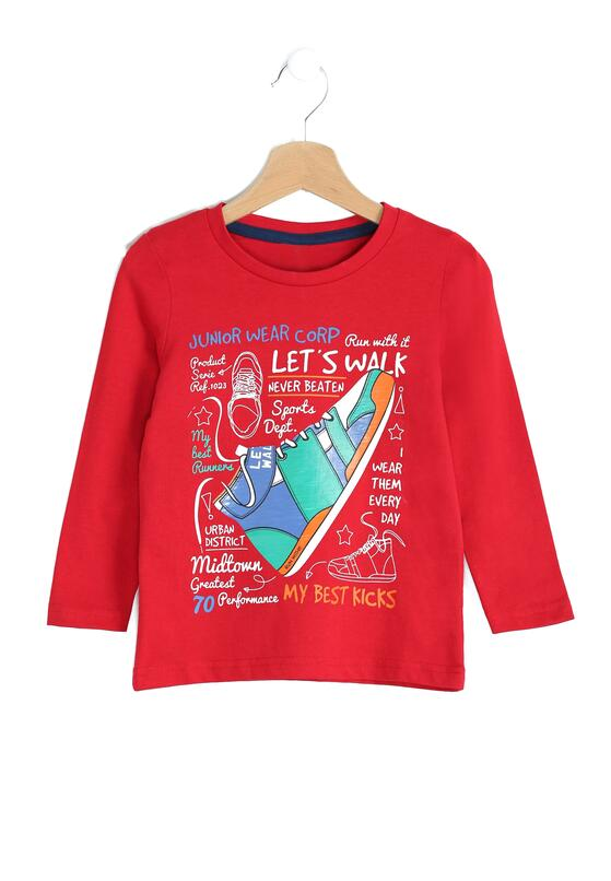 Czerwona Koszulka Let's Walk