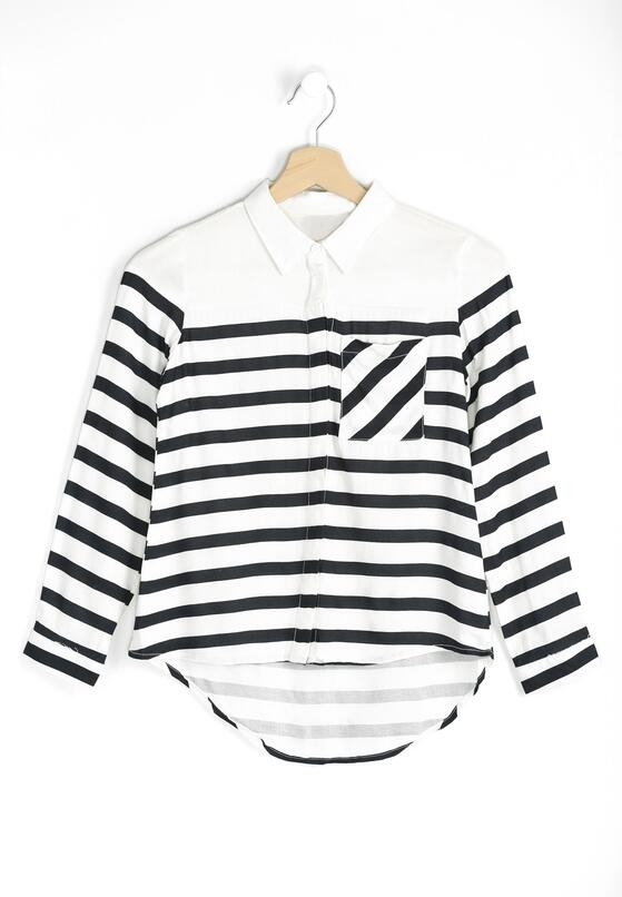 Biało-Czarna Koszula Striped