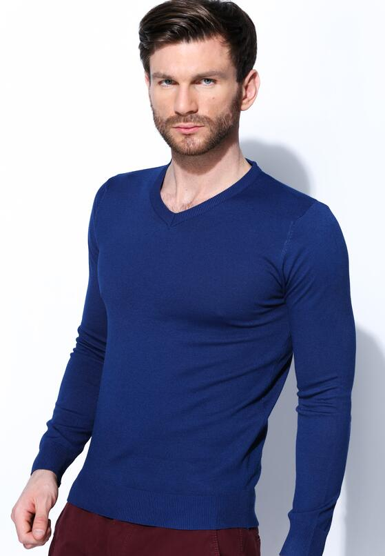 Ciemnoniebieski Sweter Smart Casual