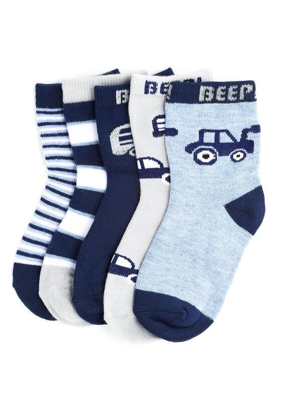 10-pack Szaro-Niebieskich Skarpetek Bus Beep
