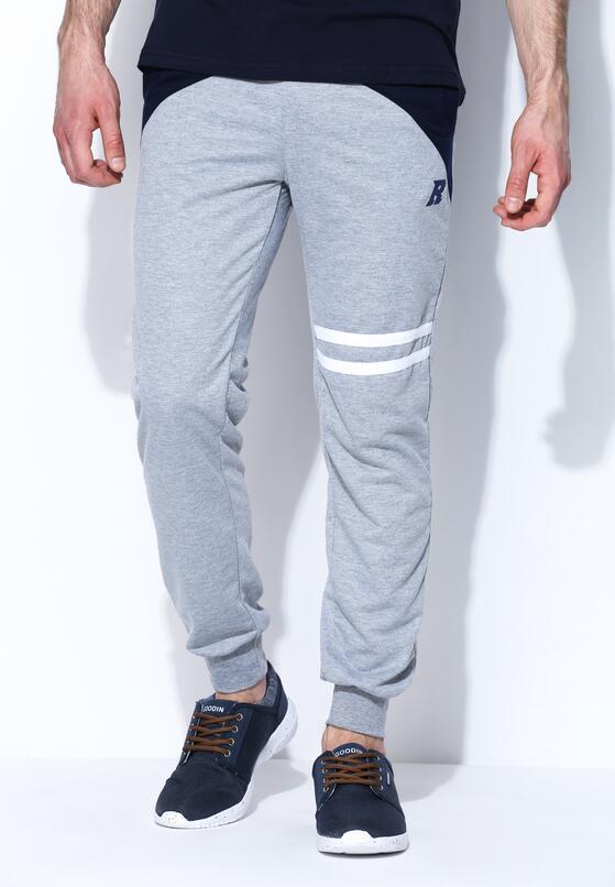 Szaro-Granatowe Spodnie Dresowe Near Perfect