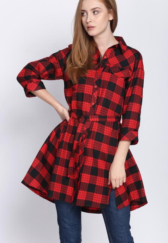 Czarno-Czerwona Sukienka Monochrome