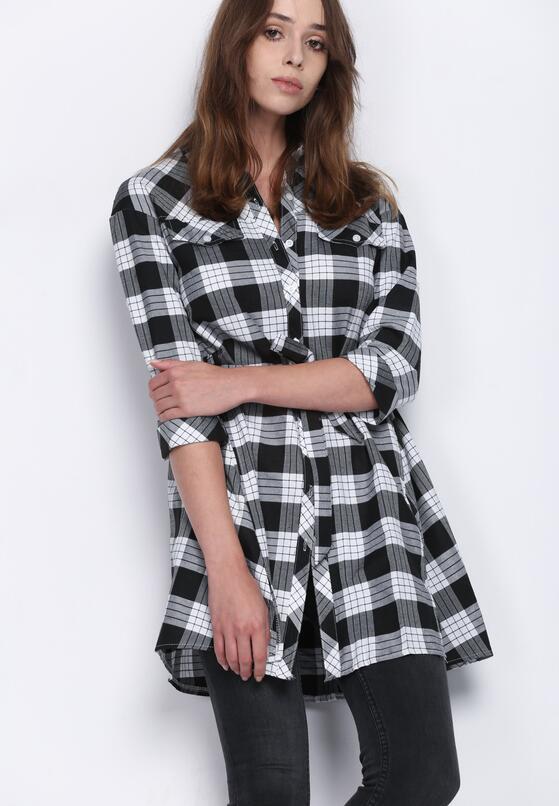 Czarno-Biała Sukienka Monochrome