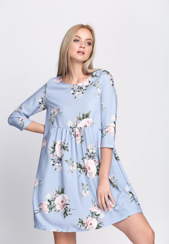 Niebieska Sukienka Full Flower