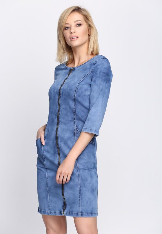 Niebieska Sukienka Long Lines