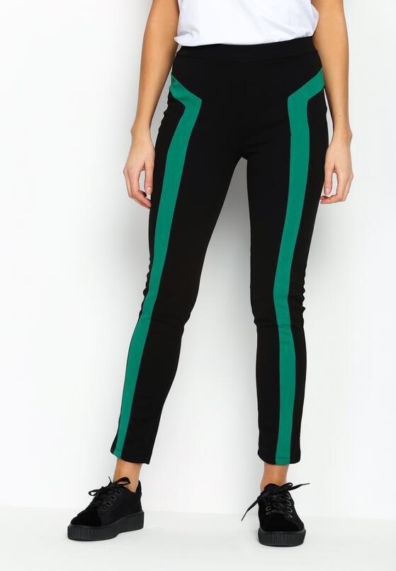 Czarno-Zielone Legginsy Double Belt