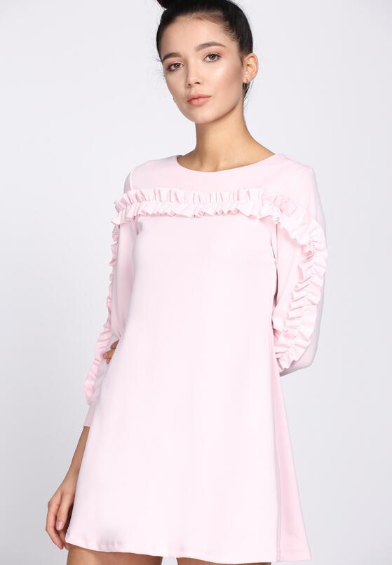 Różowa Sukienka Ruffle Sleeves
