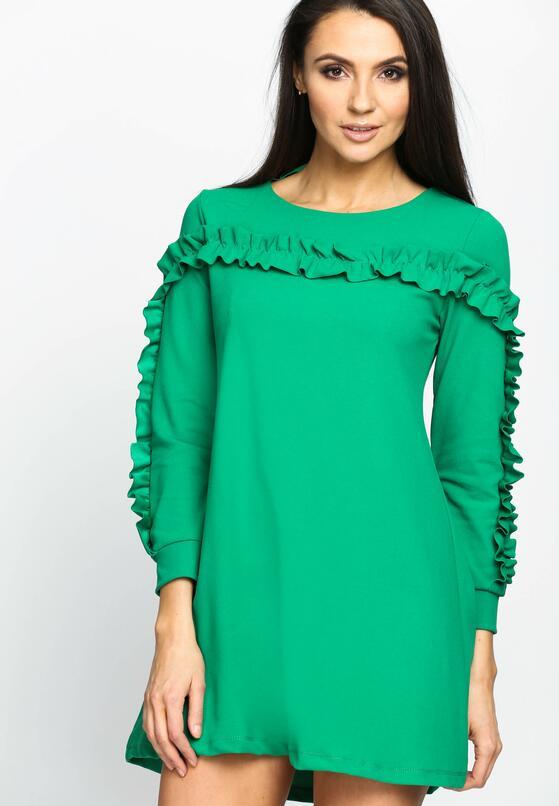 Zielona Sukienka Ruffle Sleeves