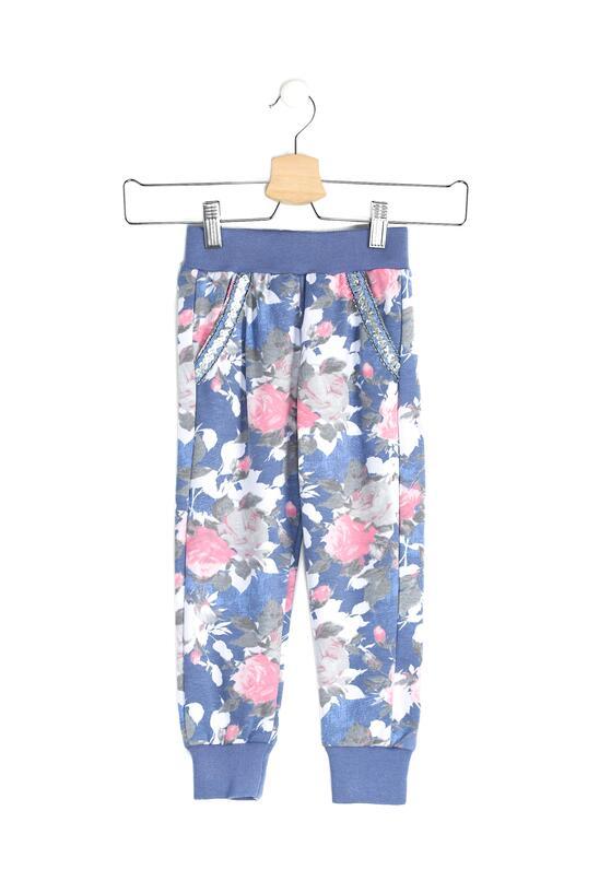 Niebieskie Spodnie Dresowe Total Floral
