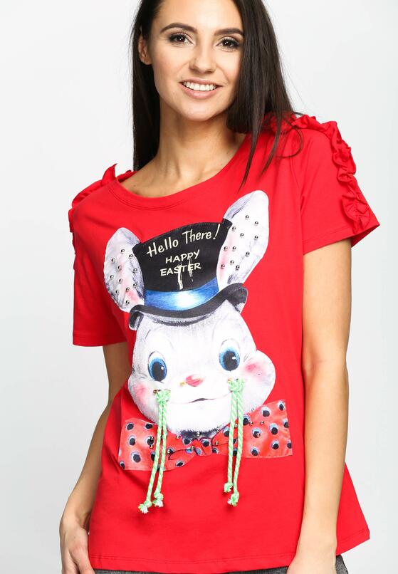 Czerwony T-shirt Happy Easter
