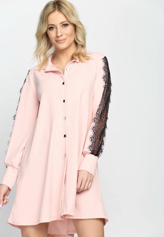 Różowa Sukienka Lacy Love