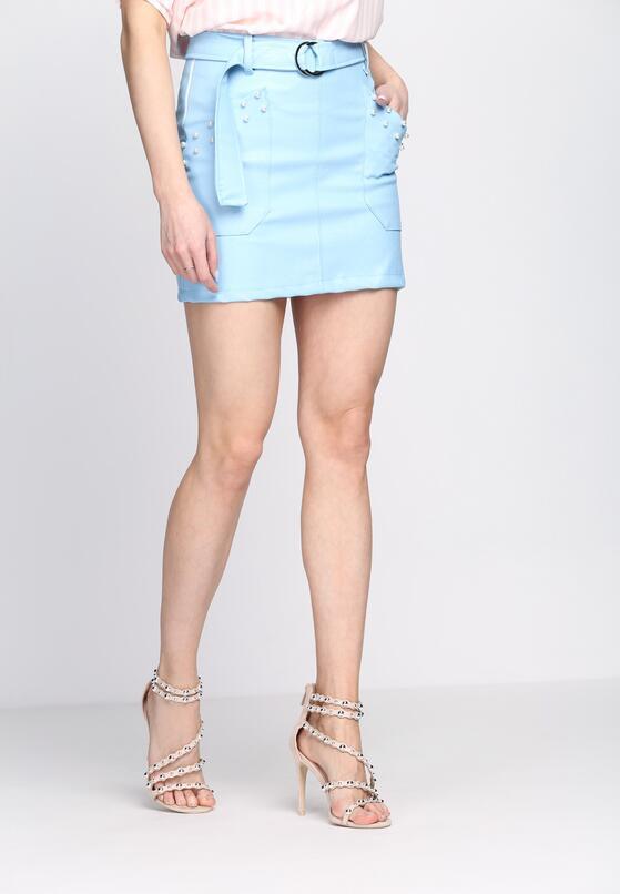 Niebieska Spódnica Geometric