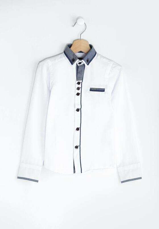 Biało-Granatowa Koszula Most Elegant