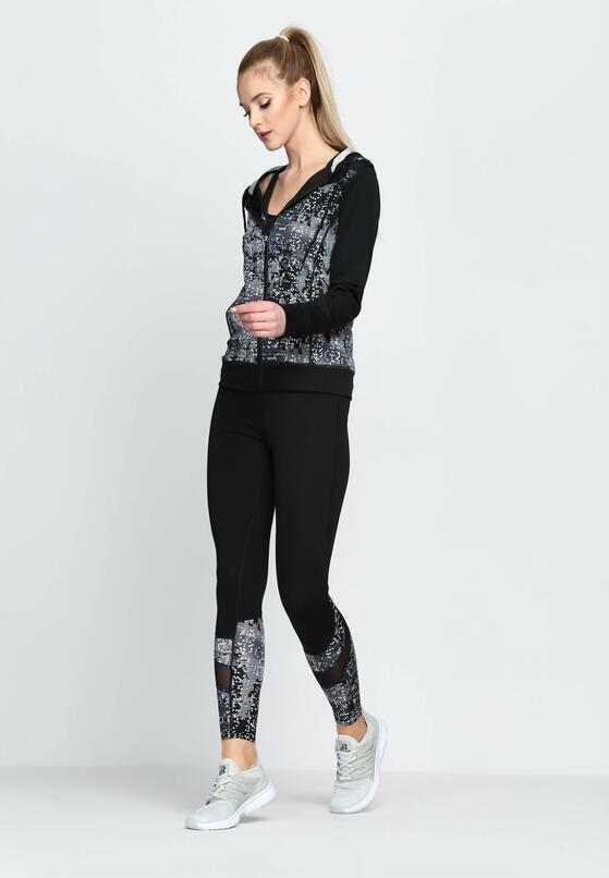 Czarno-Szary Komplet Dresowy Sport It Health