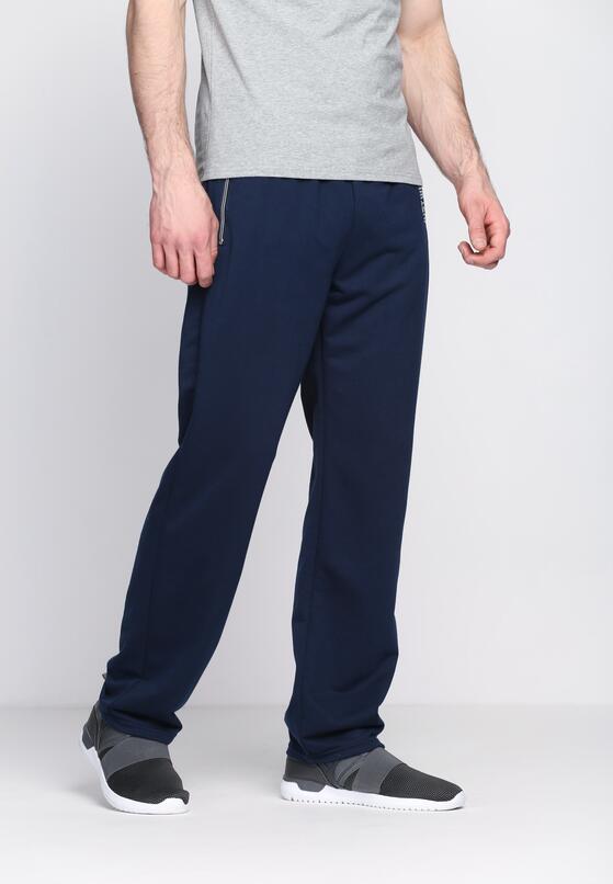 Granatowe Spodnie Dresowe Strapped