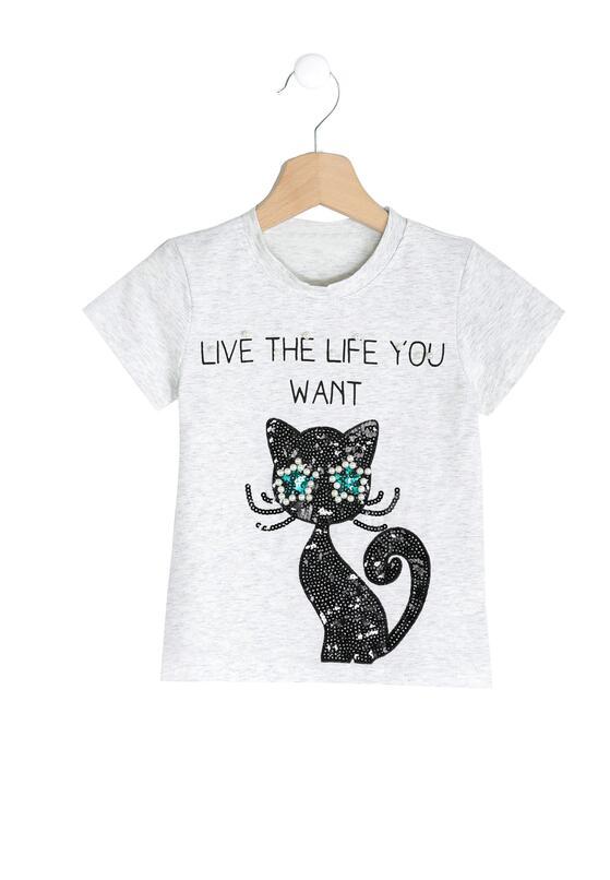 Jasnoszara Koszulka Black Kitty