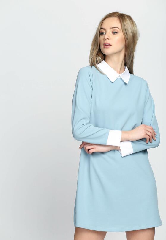 Niebieska Sukienka White Collared