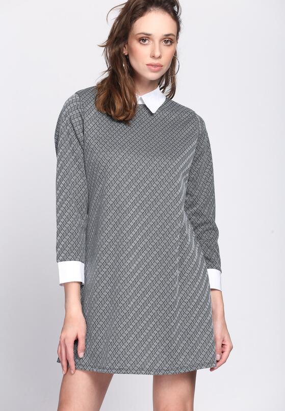 Czarno-Biała Sukienka White Collared