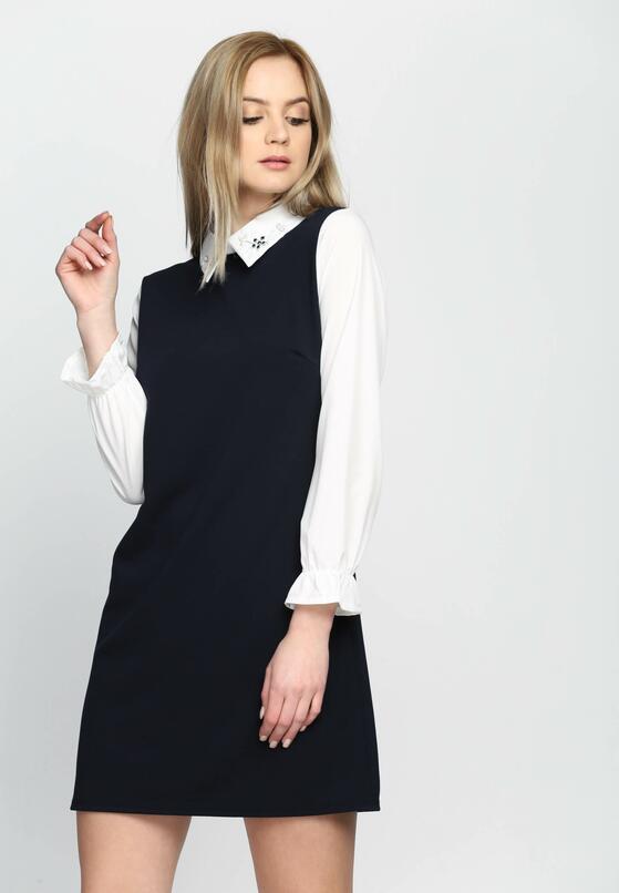 Granatowa Sukienka Dually