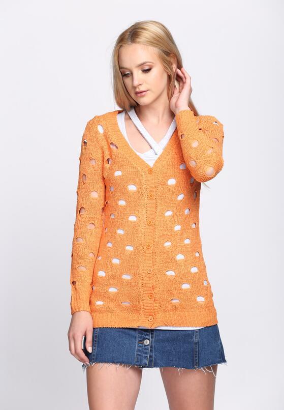 Pomarańczowy Kardigan Perforate