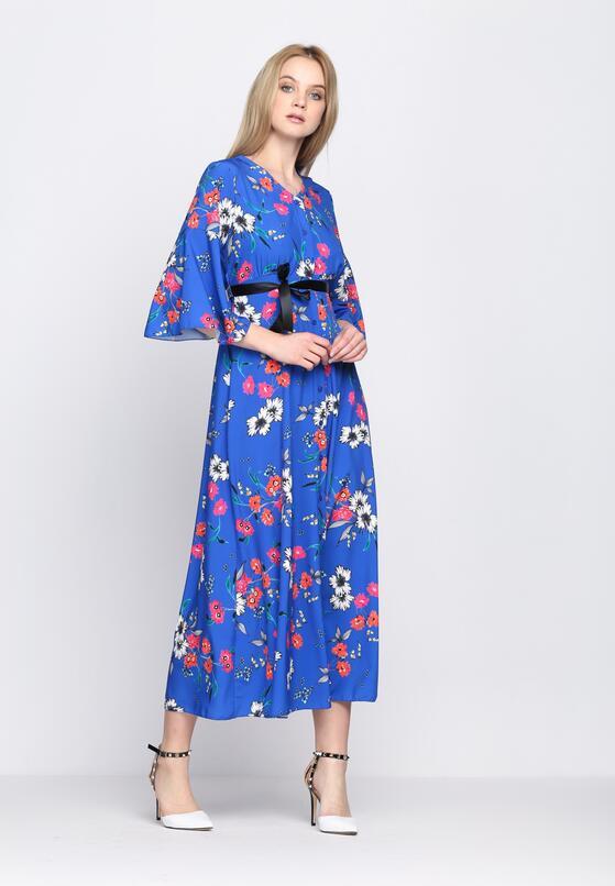 Niebieska Sukienka Oriental Poppy