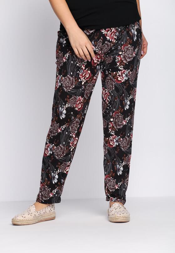 Czarno-Bordowe Spodnie Artless
