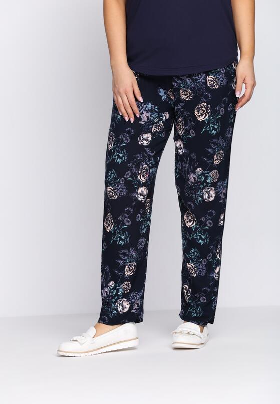 Granatowo-Różowe Spodnie Draftily