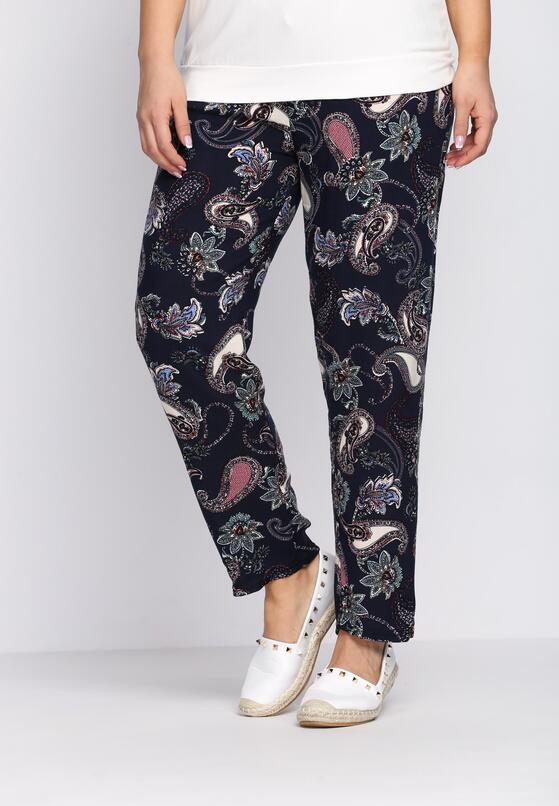 Granatowo-Bordowe Spodnie Draftily