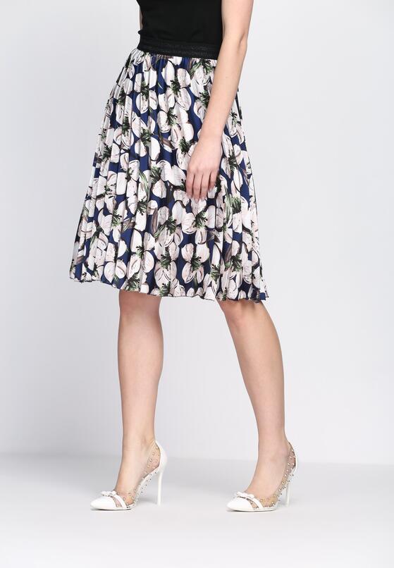 Granatowa Spódnica Shirring