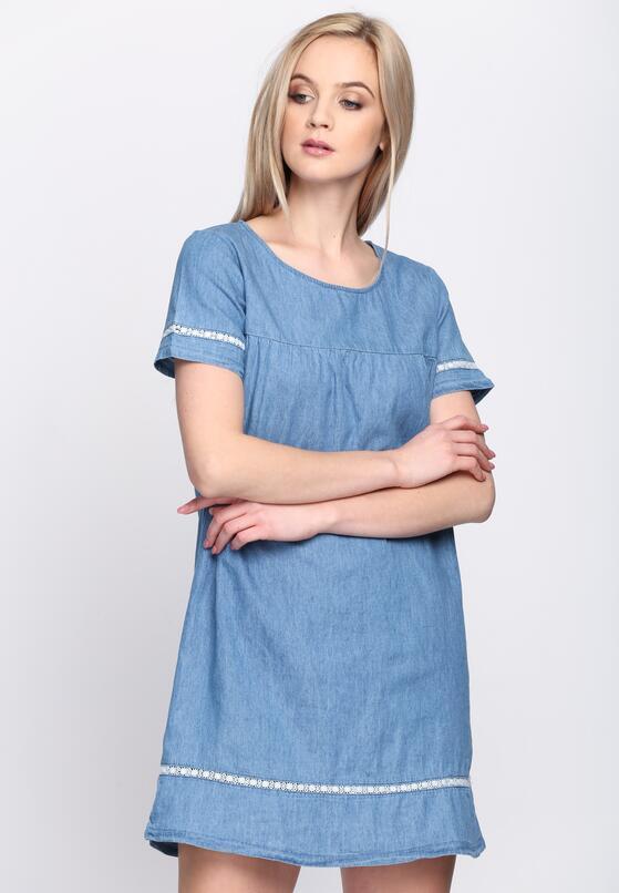 Niebieska Sukienka Denim Deze