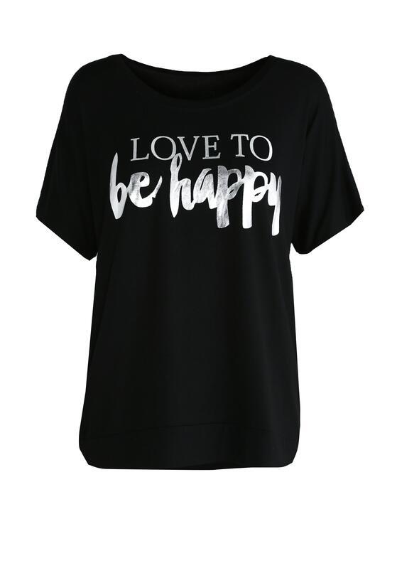 Czarny T-shirt Love To Be Happy